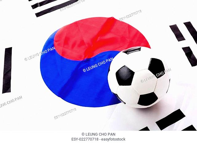 South Korean flag and football