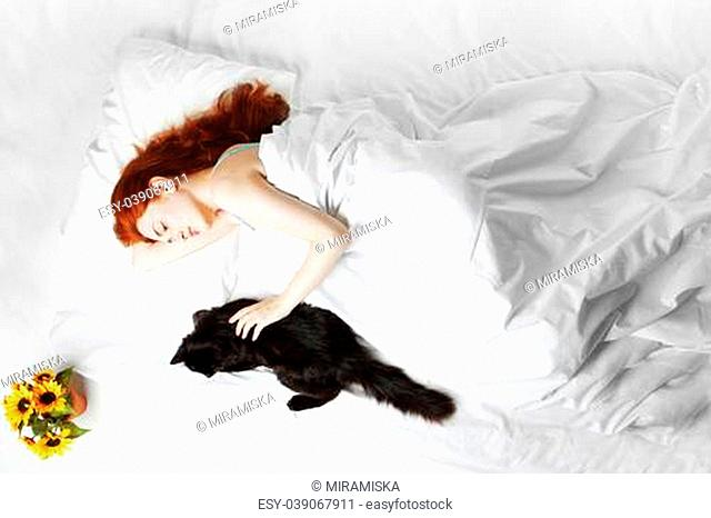 Image of sleeping on the bed girl