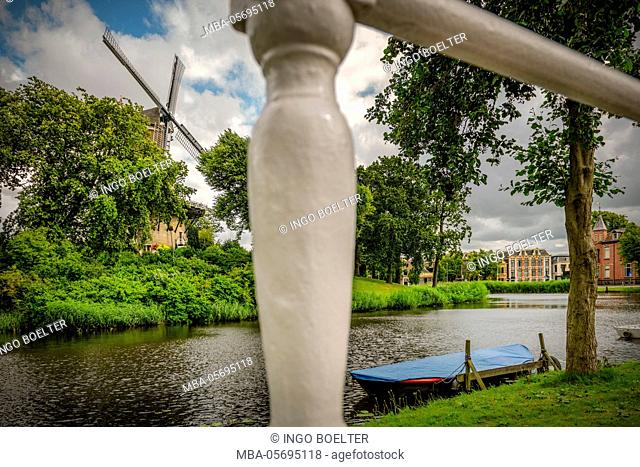 The Netherlands, Alkmaar, canal, shore, mill