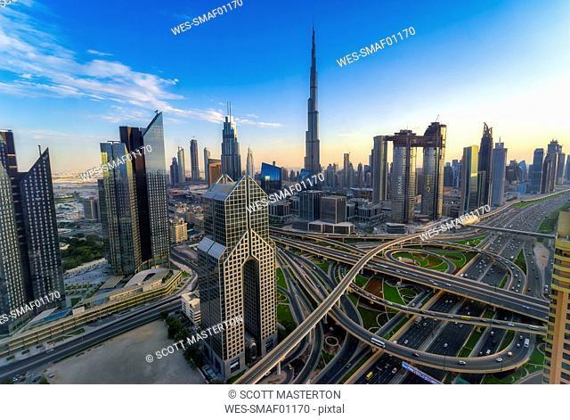 United Arab Emirates, Dubai, Burj Khalifa, cityscape in the evening