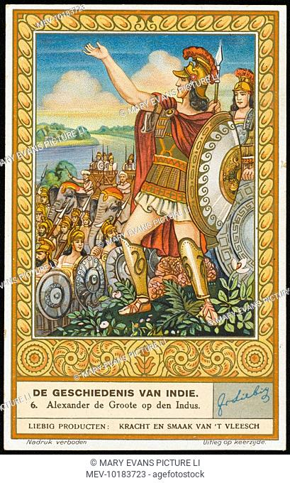 Alexander (the Great) invades Northern India. He defeats Porus on the Hydaspes, but has to retreat the following year