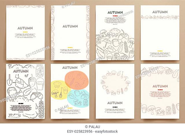 Corporate identity vector templates set with doodles autumn theme. Target marketing concept