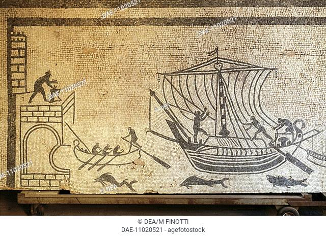 Harbor (perhaps Ariminum) with lighthouse, a boat and two transport ships with crews at work, mosaic from the domus of Palazzo Diotallevi in Rimini