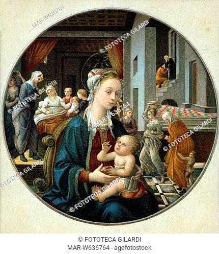 MADONNA Vergine con il Figlio, sullo sfondo sono raffigurate la nascita di Maria e altre scene dalla vita di Sant'Anna. Cromolitografia ottocentesca da dipinto...