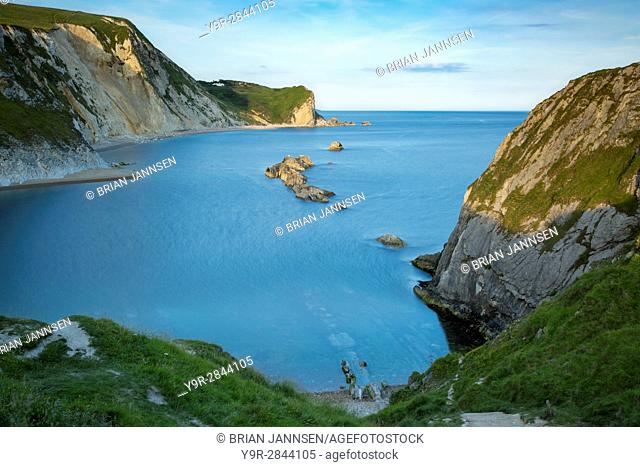 Evening view over Man O War Bay along the Jurassic Coast, Dorset, England