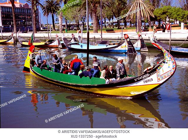 The multicolors boats, Moliceiro, in Aveiro Portugal