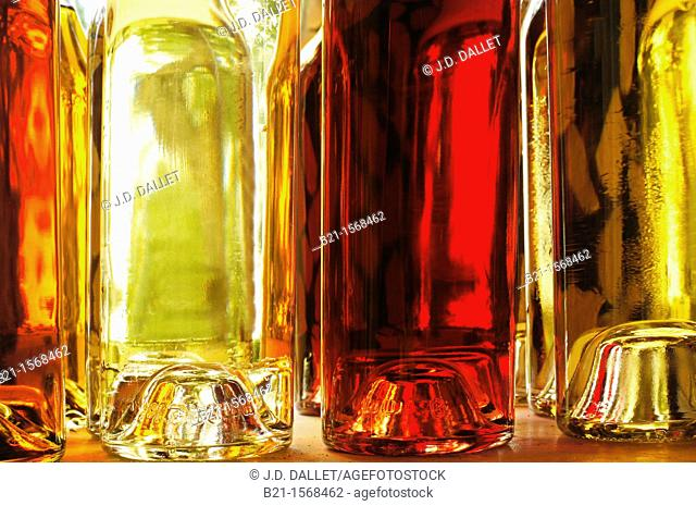 The many colors of the wines and Armagnac: rosé wine, dry white wine, armagnac, and sweet white wine from Gascogne, Domaine de Tariquet, Eauze, Gers