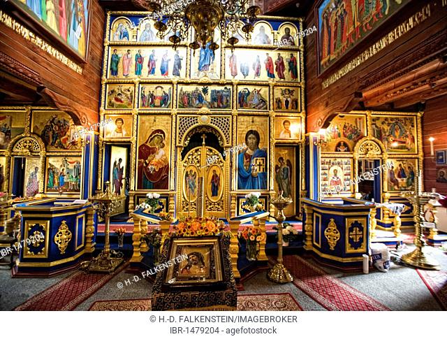 Interior, wooden Russian Orthodox church of Sankt Nikolaus in the Internationales Wind- und Wassermuehlen-Museum international wind and water mill museum in...