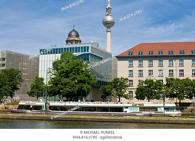 Tourist boat on the River Spree in front of the TV Tower of East Berlin, Berlin, Germany, Europe