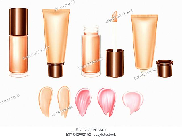 Vector 3d realistic set of lipsticks or foundation - liquid, cream, smears of product in pastel, glossy, bright colors. Tube,brush, container