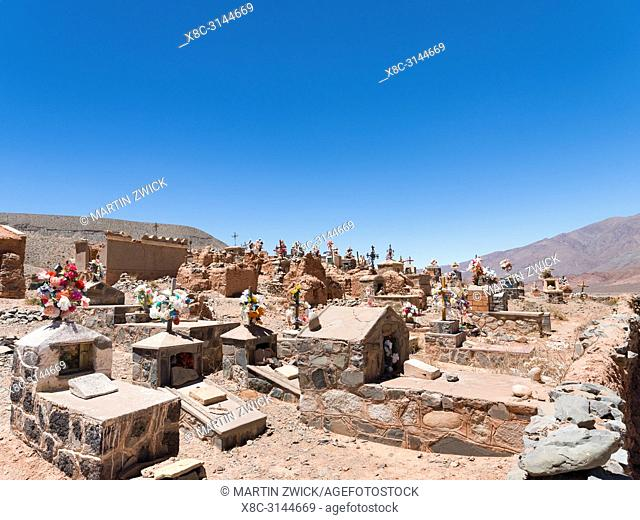 Church and cemetery El Trigal near La Poma. Canyon of Rio Calchaqui at Puente del Diablo. The Altiplano in Argentina, landscape along RN 40 near Mtn