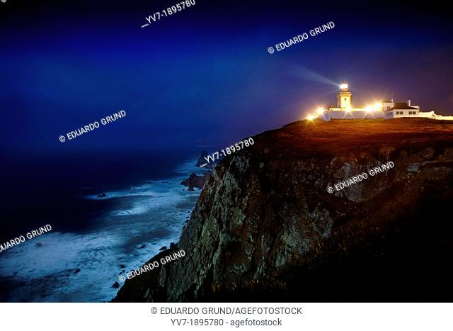 The lighthouse of Cabo da Roca, view of the cliffs  Sintra, Lisbon, Portugal, Europe