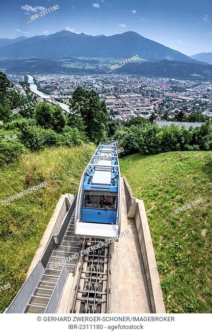 Hungerburgbahn, hybrid funicular railway, on its way to Innsbruck, built by the famous architect Zaha Hadid, Innsbruck, Tyrol, Austria, Europe