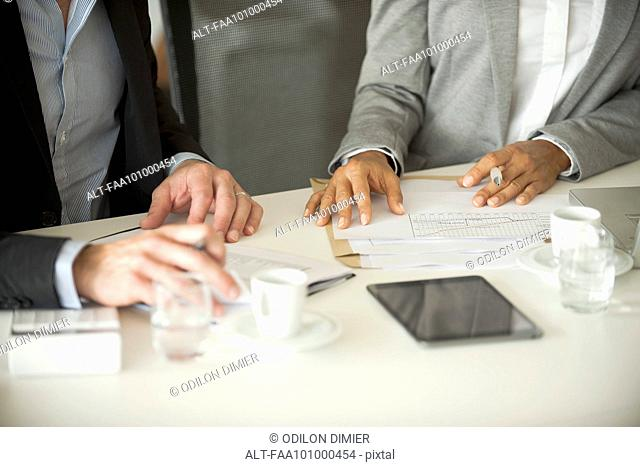 Business associates working together, cropped