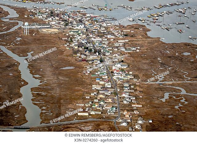 Aerial of the town located on the island of Tangier, Virginia