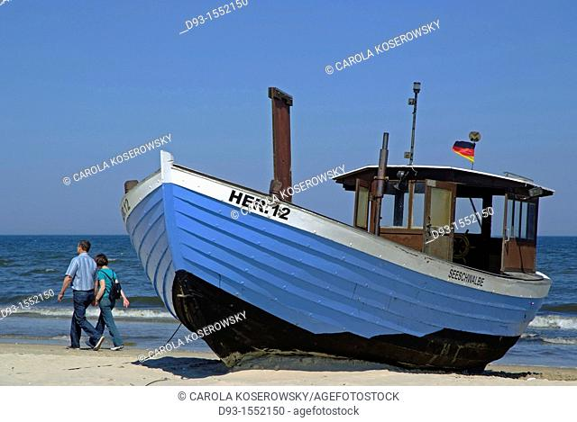 traditional fishing boat at the beach of Usedom island