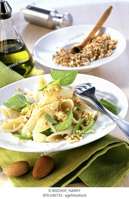 Penne rigate with Ligurian almond sauce and leeks