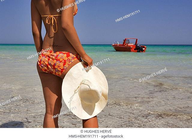 Tunisia, Djerba, beach of Sidi-Mehres, young woman