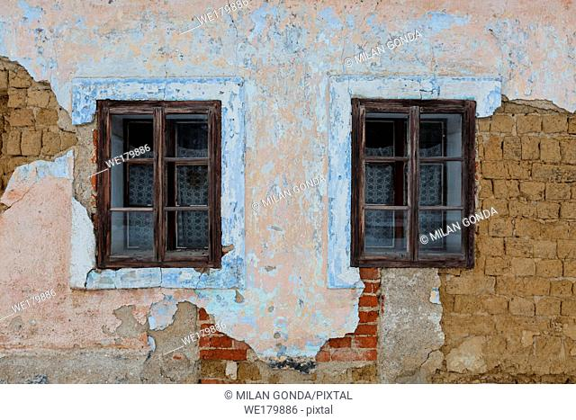 Windows of a traditional house in Karlova village, northern Slovakia