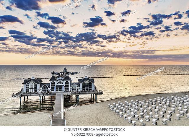 The Sellin Pier is a pier at the Baltic Sea. The pier is 394 meters long. It was inaugurated in 1998, Sellin, Ruegen Island, County Vorpommern-Ruegen