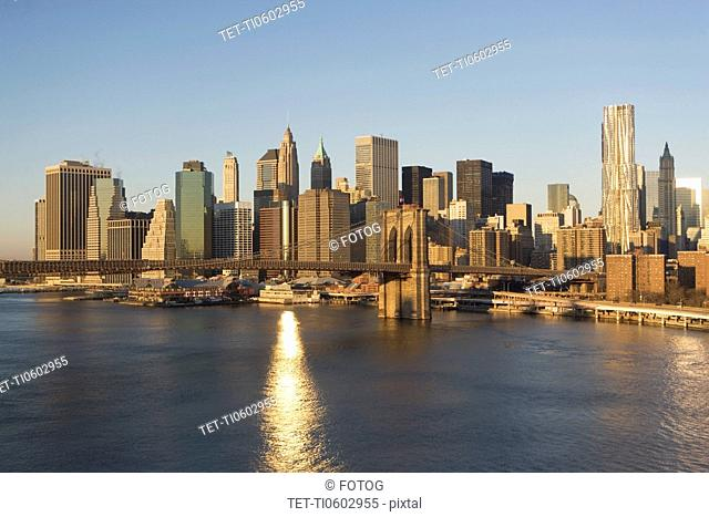 USA, New York state, New York city, Brooklyn Bridge with skyscrapers