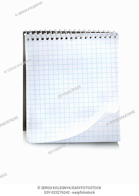 Blank notepad isolated on a white background. Clipping Path