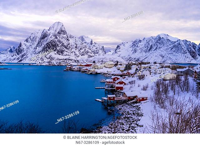 The fishing village of Reine, on Moskenseoya Island in the Lofoten Islands, Arctic, Northern Norway