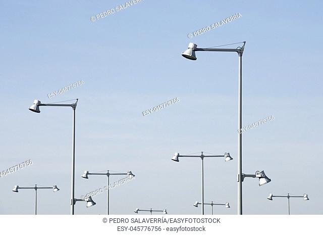 Streetlamps view and blue sky
