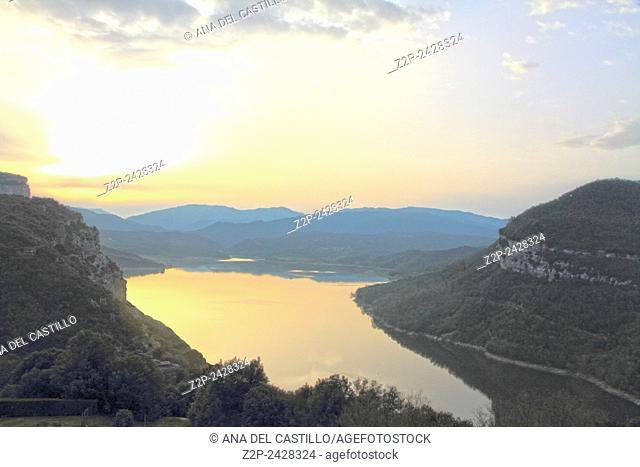 Nature landscape of Sau reservoir in Barcelona province from Vic Sau parador hotel Spain