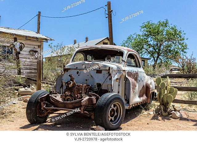 Hackberry, Arizona, USA - June 11th 2014. Old car wreck at Hackberry General Store. Hackberry is located on Arizona State Route 66 (former U. S
