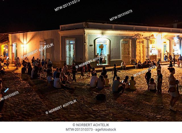 Night Life at Plaza Mayor, Trinidad, Cuba
