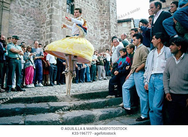 'Danza de los Zancos', typical dance during local festival on July 22nd. Anguiano. La Rioja. Spain