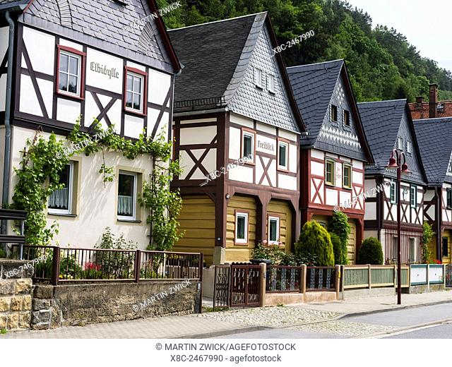 Half timbered buidlings in the village of Bad Schandau Postelwitz, saxon switzerland, near the National Park. Traditional houses in Saxony