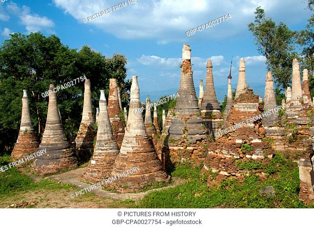 Burma / Myanmar: Some of the many hundreds of stupas at the Shwe Indein Pagoda, Indein, near Ywama, Inle Lake, Shan State