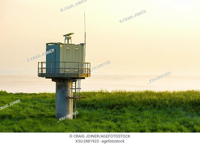 A shore-based radar tower at Severn Beach on the shore of the Severn Estuary, Gloucestershire, England