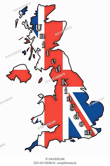 A UK flag on a UK map isolated on a white background