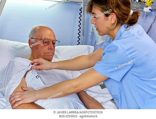 Nurse taking the temperature to a patient, hospital room, Hospital Donostia, San Sebastian, Gipuzkoa, Basque Country, Spain