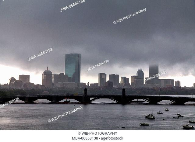 The USA, Massachusetts, Boston, skyline, rain front
