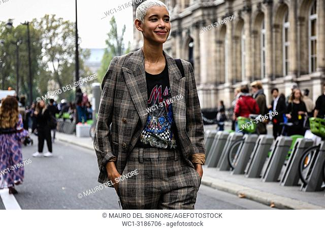 PARIS, France- September 26 2018: Model Janiece Dilone on the street during the Paris Fashion Week