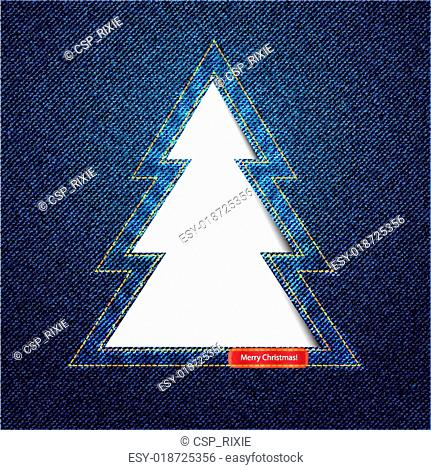 Denim Christmas tree cutout