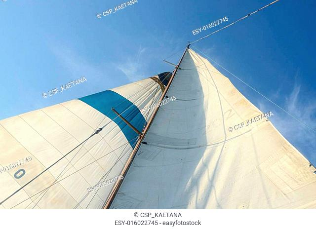 Old boat standing and running rigging - mainsail,staysaill,mast