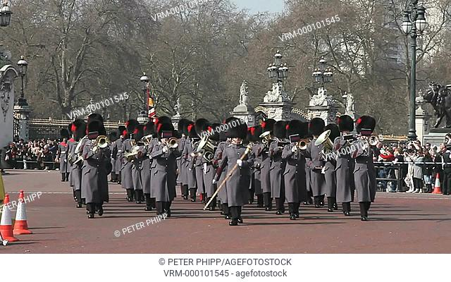 Grenadier Guards Band at the 'Changing of the Guard' ceremony at Buckingham Palace in winter-time. London