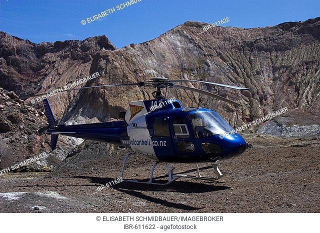 Helicopter on White Island, volcanic island, North Island, New Zealand, Oceania