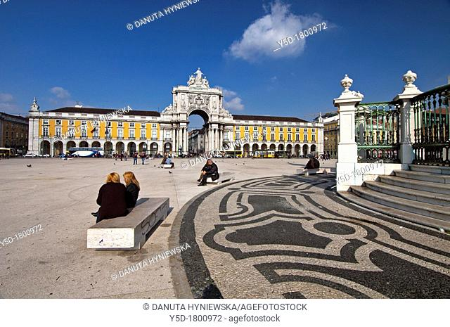 Portugal, Lisbon, the Baixa, Rossio, Praça do commercio