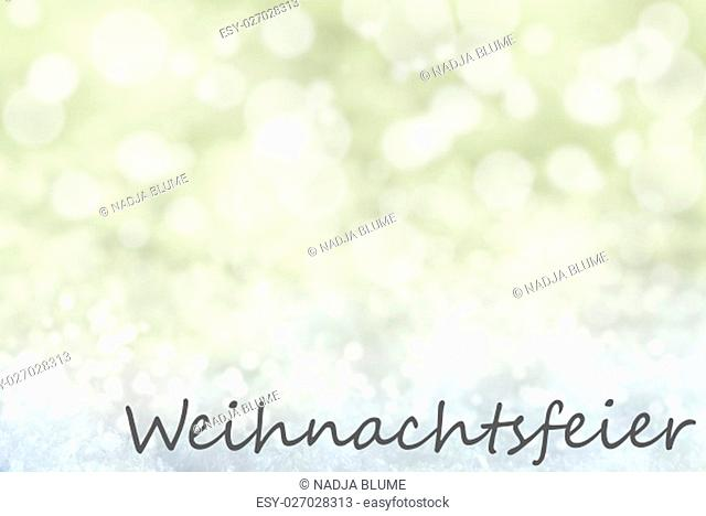 German Text Weihnachtsfeier Means Christmas Party. Golden Bokeh Christmas Background Or Texture With Snow. Copy Space For Your Text Here