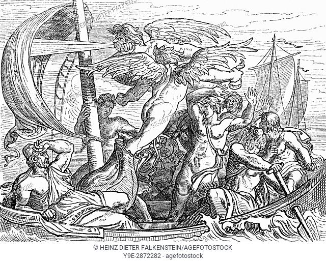 The ship of Odysseus in stormy sea, Aeolus, the ruler of the winds, Homer's Odyssey
