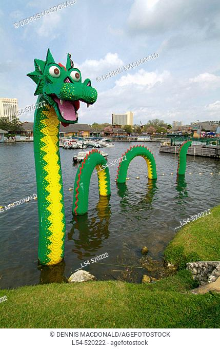 Toy Lego plastic block statue figures Downtown Disney Marketplace is a Disney World shopping district catering to Disney World visitors Orlando Florida