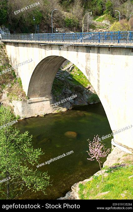 bridge on a river in jerte valley