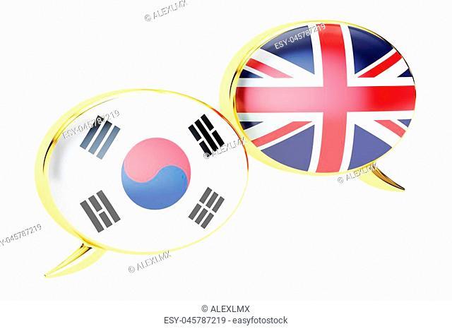 Speech bubbles, Korean-English conversation concept. 3D rendering