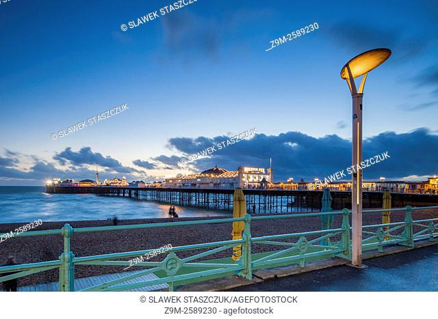 Winter evening on Brighton seafront, East Sussex, England